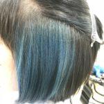 ファイバープレックス&塩基性カラーでビビットインナーカラーブルー